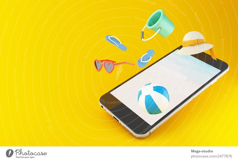 3d smartphone. Tropical summer vacation Vacation & Travel Summer Blue Colour Landscape Ocean Joy Beach Yellow Style Tourism Fashion Trip Design Modern