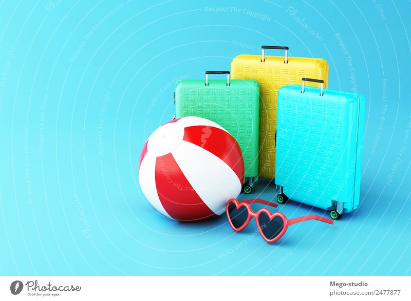 3d Travel suitcase with Beach ball and sunglasses. Lifestyle Joy Relaxation Leisure and hobbies Vacation & Travel Tourism Trip Adventure Summer Ocean Nature