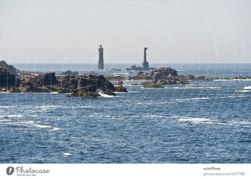 Sky Ocean Far-off places Landscape Coast Waves Horizon Rock Island Exceptional Lighthouse Beautiful weather Remote Reef Atlantic Ocean Brittany