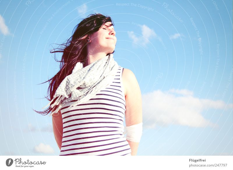 summer breeze Feminine Young woman Youth (Young adults) 1 Human being To enjoy Warmth Sunlight Clouds Sky Blue Striped Scarf Hair and hairstyles Blow Wind