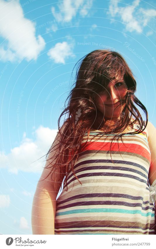 /// Feminine Young woman Youth (Young adults) Hair and hairstyles 1 Human being To enjoy Summer Sunlight Stripe Freedom Contentment Smiling Clouds Sky