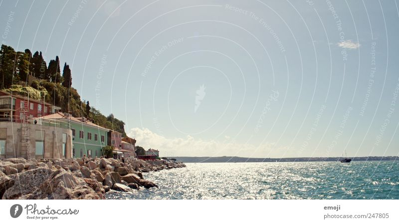 Slovenia / Croatia Sky Cloudless sky Summer Beautiful weather Coast Ocean Village House (Residential Structure) Blue Water Stone Southern Europe