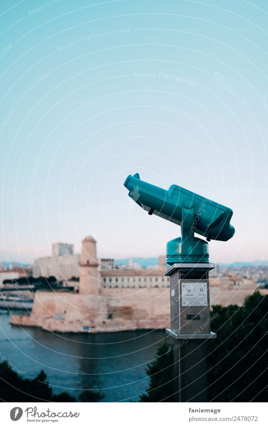 Blue Town Ocean Travel photography Vantage point Tower Manmade structures Panorama (Format) Harbour France Turquoise Port City Fortress Binoculars