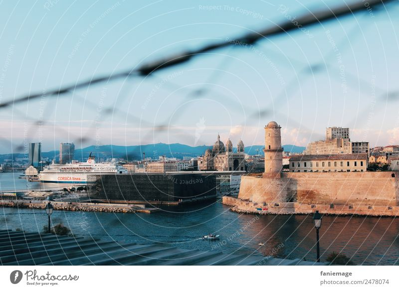 Landscape Travel photography Exceptional Vantage point Manmade structures Panorama (Format) Harbour France Turquoise Diagonal Frame Port City Fortress