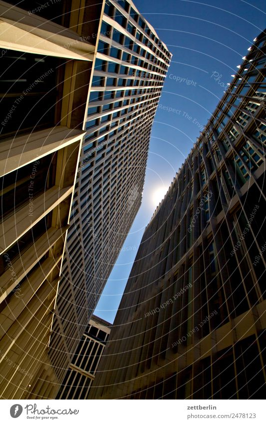 Worm's-eye view again Architecture Berlin Office City Capital city House (Residential Structure) Sky Heaven High-rise Downtown Middle Downtown Berlin Modern