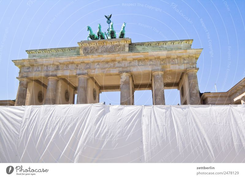 Fan Mile again Brandenburg Gate Landmark Barrier Covers (Construction) Architecture Berlin Germany Capital city langhans Quadriga Carriage and four