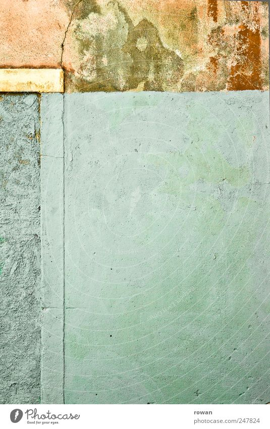 wall surfaces Deserted House (Residential Structure) Manmade structures Building Wall (barrier) Wall (building) Facade Old Broken Blue Green Red Plaster Dye