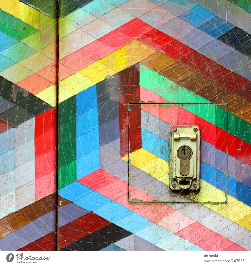 Kunterbunt Door Lock Dye Colour Line Stripe Multicoloured Cube Square Colour photo Abstract Pattern Structures and shapes Deserted Copy Space top