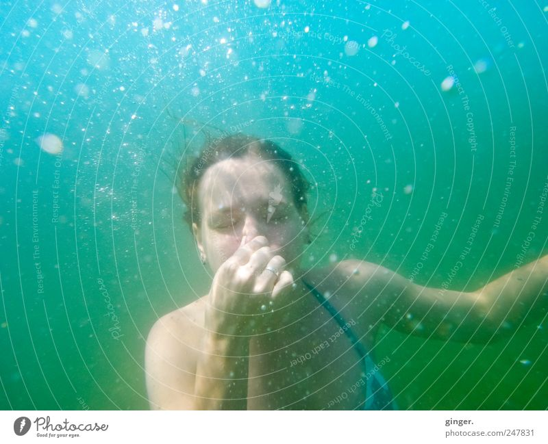 Human being Youth (Young adults) Hand Joy Vacation & Travel Ocean Eyes Life Feminine Adults Wet Nose Swimming & Bathing Authentic Dive Bubble