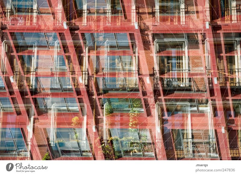 Red House (Residential Structure) Window Architecture Building Flat (apartment) Facade Crazy Perspective Living or residing Change Uniqueness Exceptional