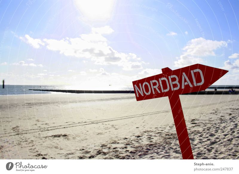 Sky Blue Vacation & Travel Water Summer Sun Red Clouds Beach Coast Sand Signs and labeling Beautiful weather Characters Signage North Sea