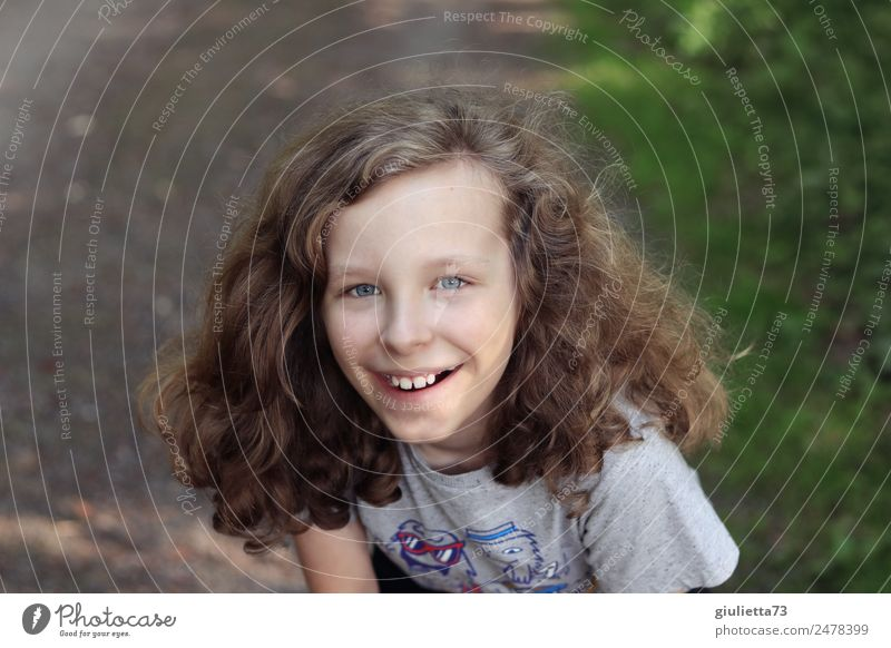 Summer holidays | Happy, laughing boy with long hair Vacation & Travel Boy (child) Infancy Life 1 Human being 8 - 13 years Child Park Long-haired Curl Smiling