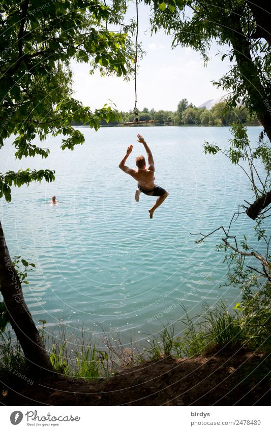 Bathing fun at the quarry pond Joy Swimming & Bathing Summer Masculine Young man Youth (Young adults) Friendship 2 Human being Beautiful weather Tree Lakeside