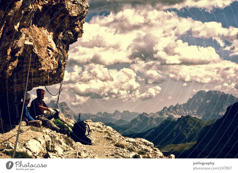 Human being Clouds Adults Far-off places Relaxation Landscape Sports Mountain Freedom Friendship Masculine Trip Adventure Climbing Alps Discover