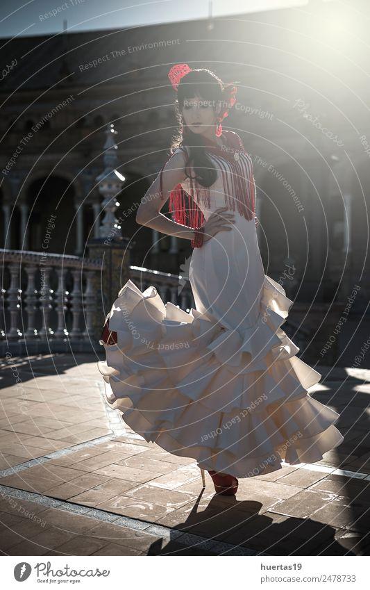 Young elegance flamenco dancer Elegant Happy Beautiful Dance Human being Woman Adults Dancer Culture Flower Fashion Dress Passion Flamenco Spain spanish dancing