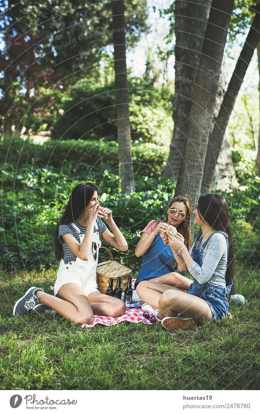 Three Beautiful Young girls Human being Feminine Young woman Youth (Young adults) Woman Adults Friendship 3 13 - 18 years Plant Beautiful weather Tree Park