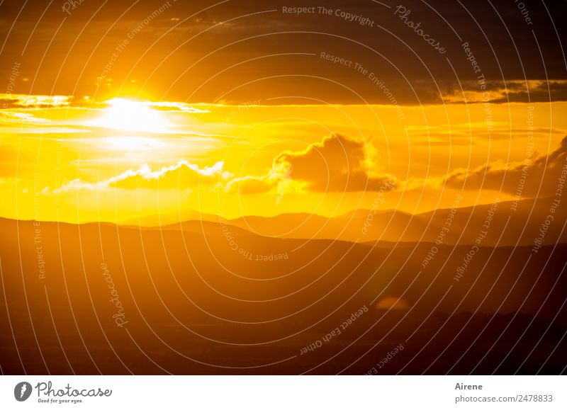 not yet of all days Evening Sky Clouds Sun Sunrise Sunset Sunlight Beautiful weather Illuminate Glittering Natural Gold Orange Emotions Moody End
