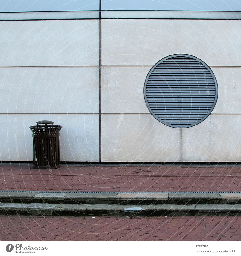 Wall (building) Architecture Building Esthetic Gloomy Circle Graphic Trash container Cobbled pathway Vent slot