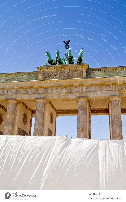 fan mile Barrier Architecture Berlin Brandenburg Gate Germany Capital city langhans Quadriga Carriage and four Seat of government Spree Spreebogen Column Fence