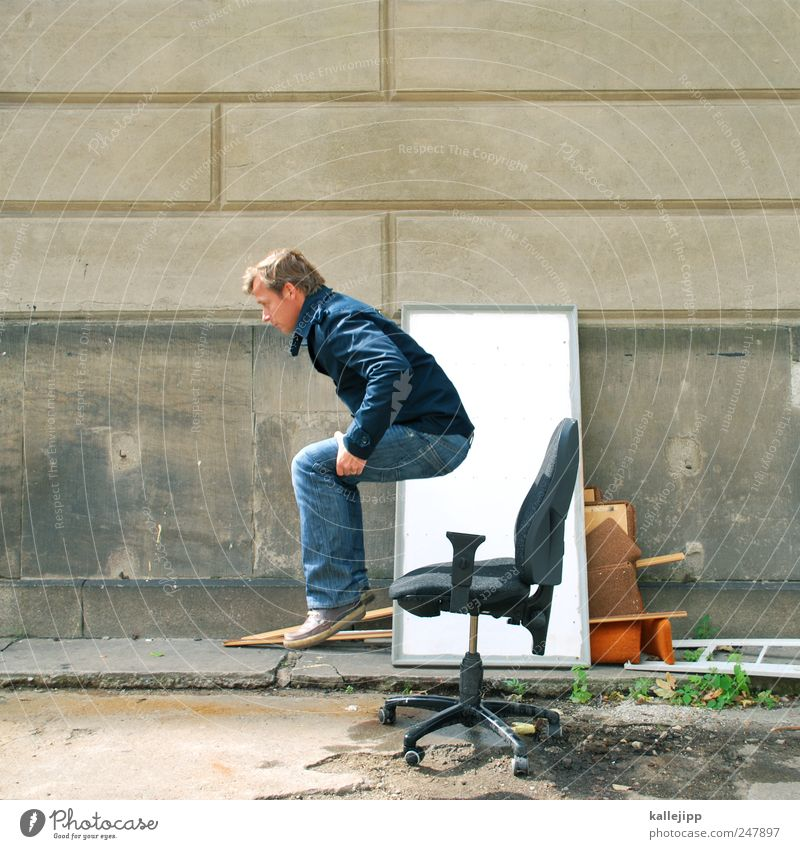 Human being Man Jump Adults Think Work and employment Footwear Sit Success Masculine Aviation Chair Jeans Profession Creativity Jacket