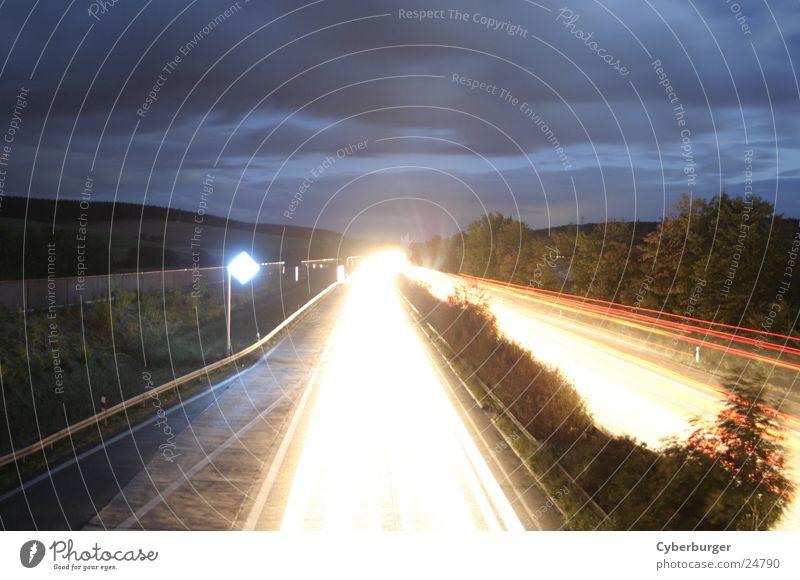 Aral BAB Seesen at night 4 Night Highway Long exposure Transport aral Blue