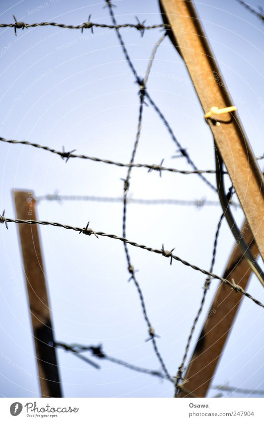 Sky Loneliness Metal Fear Safety Dangerous Protection Force Fence Rust Wire Barrier Concern Aggression Nerviness Blue sky