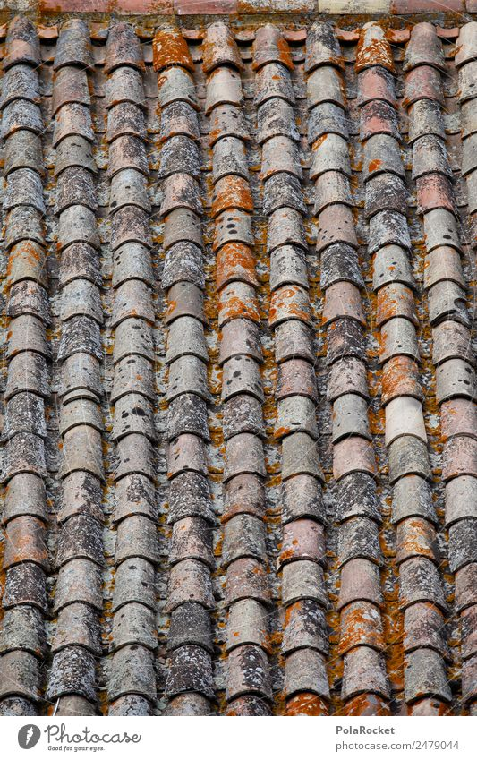 #A# Roof tile Art Esthetic Pattern Roofing tile Mediterranean France Provence Bonnieux Brick red Many Row Colour photo Subdued colour Exterior shot Detail