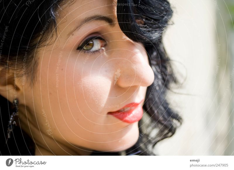 Human being Youth (Young adults) Beautiful Face Feminine Adults Retro Uniqueness Curl 18 - 30 years Make-up Young woman Black-haired The fifties Woman