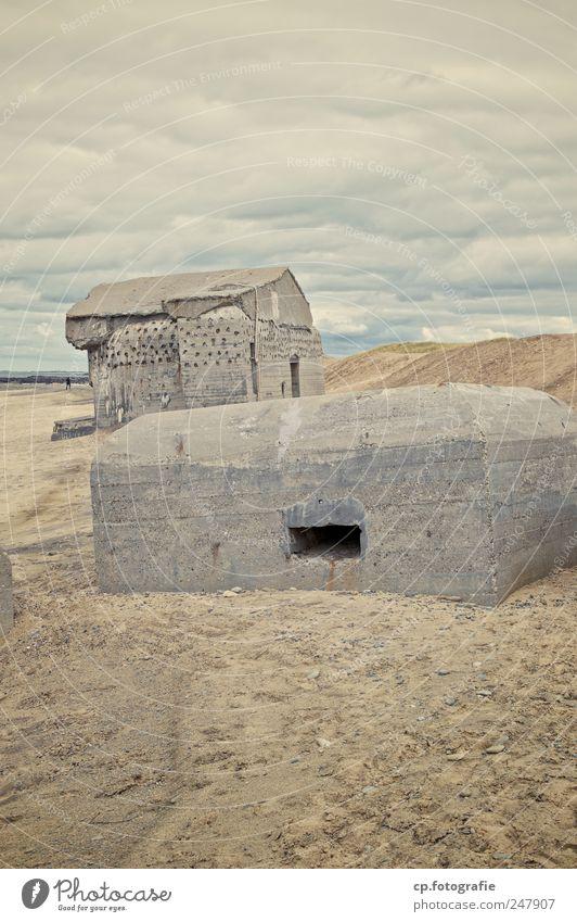 Bunker idyll 1 Landscape Bad weather Coast Beach North Sea Denmark Manmade structures Dark Sharp-edged Dugout Day Deep depth of field