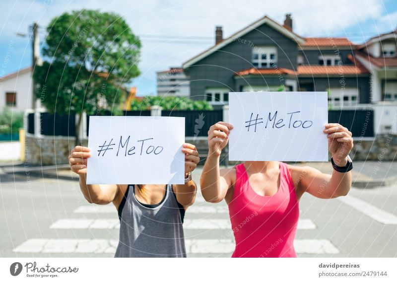 Women showing poster with metoo hashtag Woman Human being Hand Street Adults Authentic Card Indicate Word Force Text Cinema Aggression Against Horizontal Hold