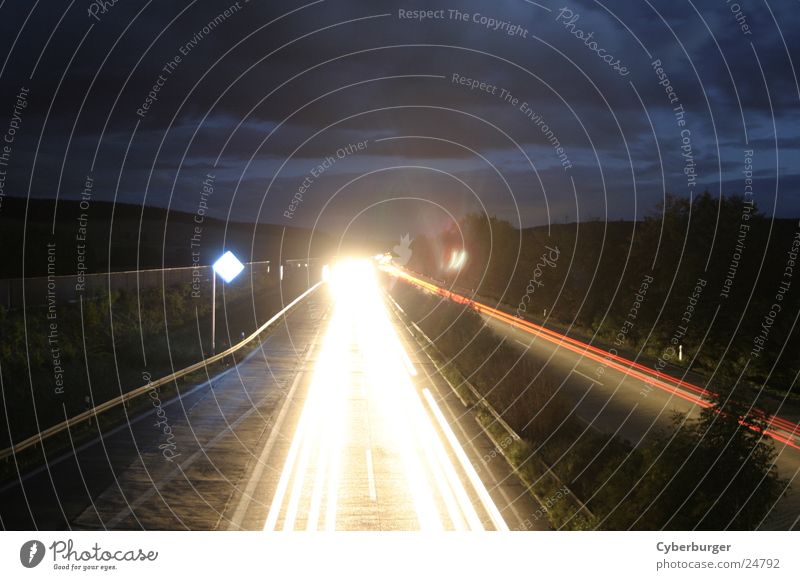 Aral BAB Seesen at night 5 Night Stripe Long exposure Highway Radiation Light Transport aral Car light beam Blue