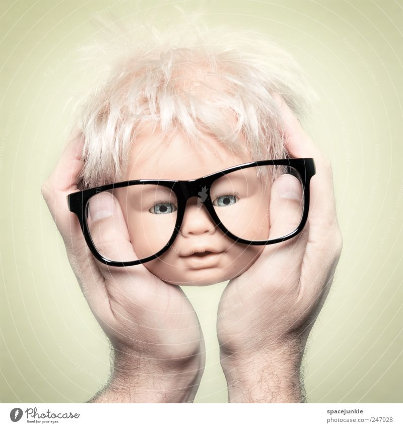 Hand Yellow Funny Exceptional Head Crazy Future Observe Eyeglasses Fear of the future Whimsical Humor Doll Freak Person wearing glasses Toys