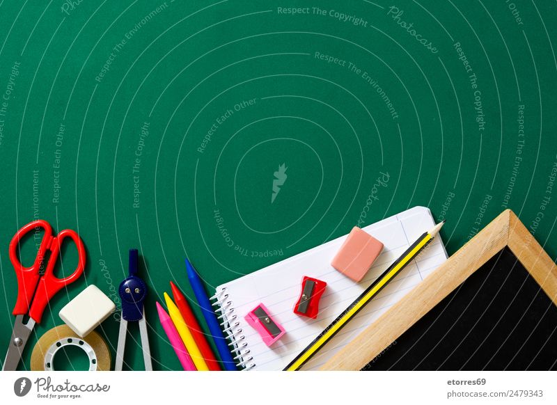 Back to school Education School Classroom University & College student Workplace Office Green Red Supply Scissors Notebook Blackboard Copy Space Rubber Study