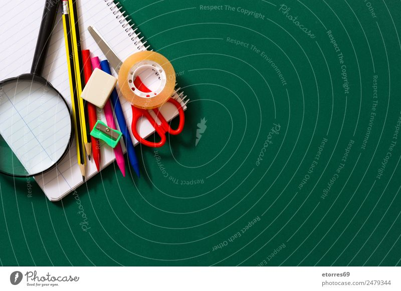Back to school Blue Green Red Black Background picture School Copy Space Study Paper Education Student Blackboard Workplace Pen Piece of paper Pencil
