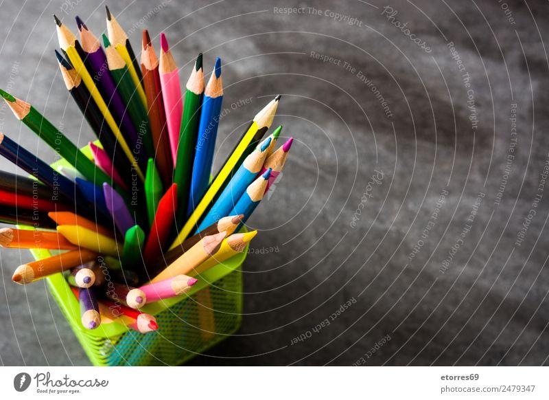 Color pencils Education Child School Classroom Blackboard Workplace Art Pen Box Blue Brown Multicoloured Yellow Orange Pink Red Concentrate Pencil