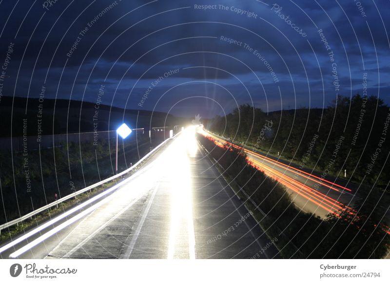 Aral BAB Sessen at night 2 Night Highway Long exposure Transport Blue aral