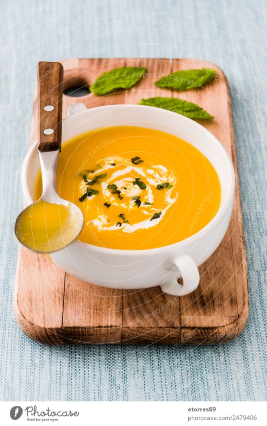 Pumpkin soup Food Vegetable Soup Stew Nutrition Lunch Organic produce Vegetarian diet Thanksgiving Fresh Healthy Good Blue Orange Cream Spoon Bowl Leaf Autumn