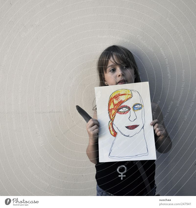 artist Feminine Child Girl Infancy Head Face 3 - 8 years Brash Self-confident Optimism Pride Art Painting and drawing (object) Paper Wall (barrier) Feather