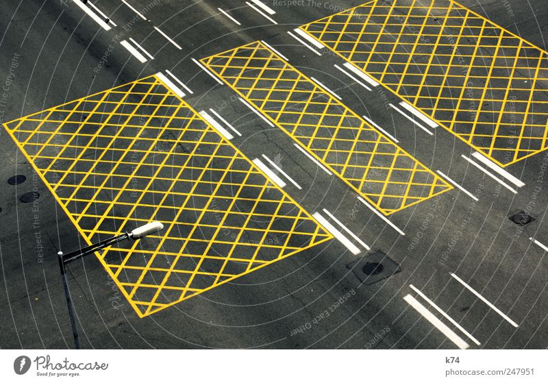 road network Transport Traffic infrastructure Street Crossroads Lane markings Yellow Colour photo Subdued colour Exterior shot Aerial photograph Deserted Day