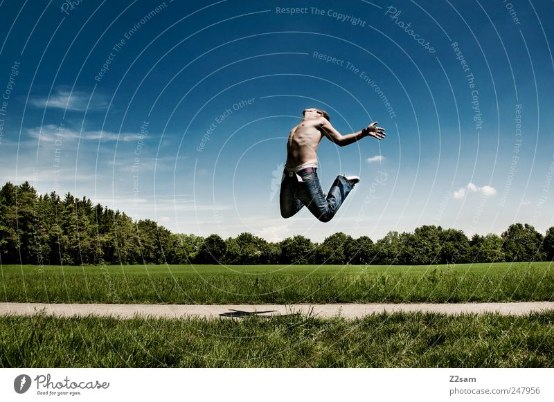 Human being Sky Nature Youth (Young adults) Green Tree Blue Meadow Freedom Landscape Jump Environment Style Movement Happy Adults