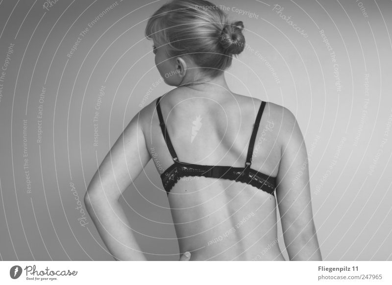 slanting Beautiful Body Healthy Feminine Back Arm 1 Human being Underwear Hair and hairstyles Braids Movement Exceptional Thin Natural Emotions Secrecy Serene