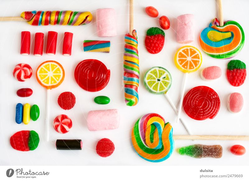 Colorful lollipops and candies and sweet candy Food Dessert Candy Chocolate Nutrition Buffet Brunch Fast food Diet Feeding Delicious Rich sugar colorful Snack