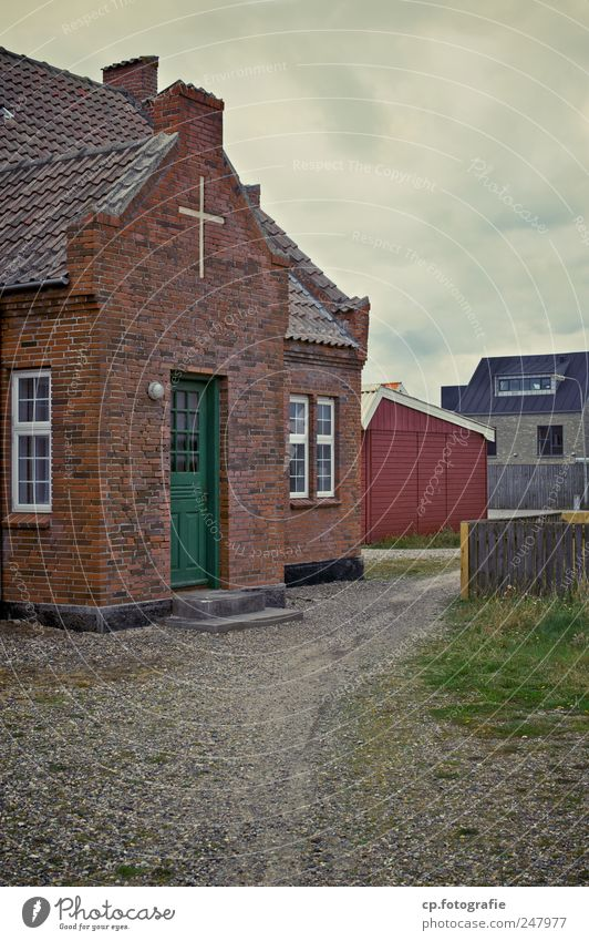 Old Window Architecture Building Door Church Manmade structures Crucifix Brick Gravel Bad weather Denmark Clouds in the sky Brick wall Integrity