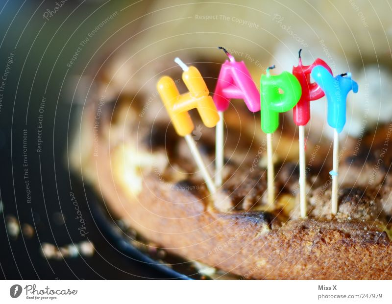 Nutrition Food Feasts & Celebrations Birthday Sweet Candle Letters (alphabet) Cake Delicious Baked goods Dough To have a coffee Happy Birthday Apple pie