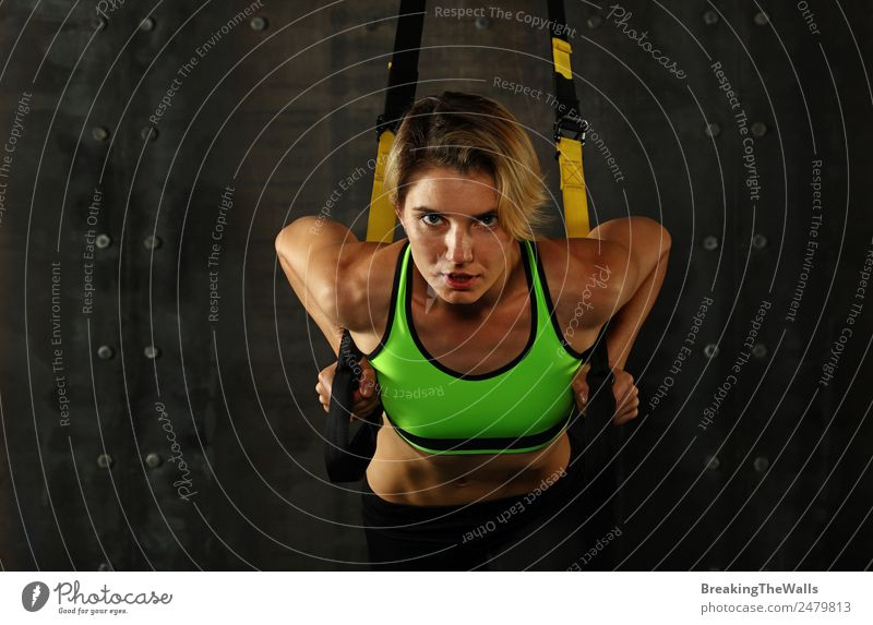 One young athletic woman at crossfit training, exercising with trx suspension fitness straps over dark background, front view, looking at camera Lifestyle