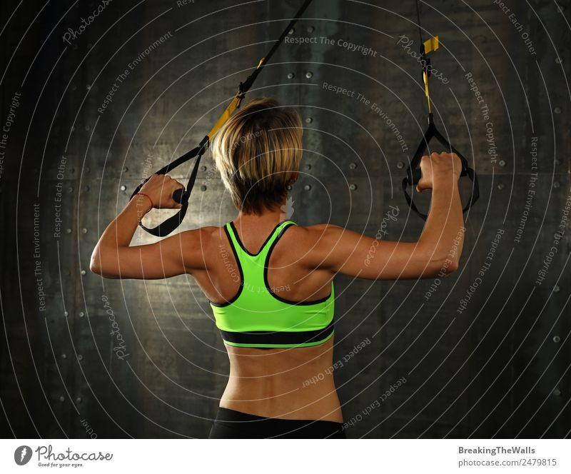 Young woman training arms with trx fitness straps Lifestyle Sports Fitness Sports Training Track and Field Sportsperson Youth (Young adults) Woman Adults Arm