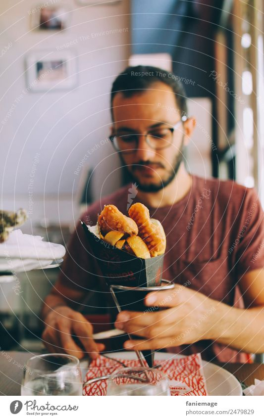 Human being Man Town Hand Eating Adults Lifestyle Style Food Masculine Nutrition Eyeglasses Fish Delicious Restaurant