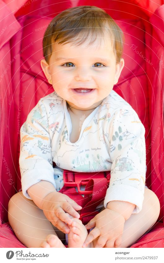 Smiling baby sitting Happy Beautiful Face Child Human being Feminine Baby Girl Infancy Body 1 0 - 12 months Red Happiness Caucasian people seat Set sweet