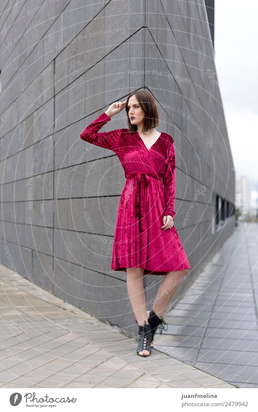 Young girl posing outdoor Lifestyle Style Beautiful Feminine Woman Adults 18 - 30 years Youth (Young adults) Street Fashion Dress Cool (slang) young Posture