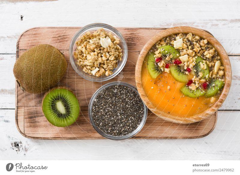 Healthy smoothie Green White Food Orange Fruit Nutrition Fresh Sweet Good Organic produce Breakfast Dessert Seed Bowl Vegetarian diet